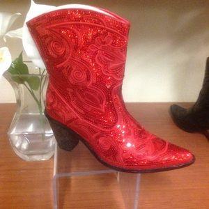 Short red sequin boot